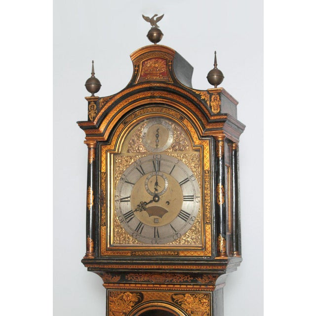 Asian George II Lacquered Chinoiserie Tall Case Clock Inscribed Jno. Fladgate, London For Sale - Image 3 of 13