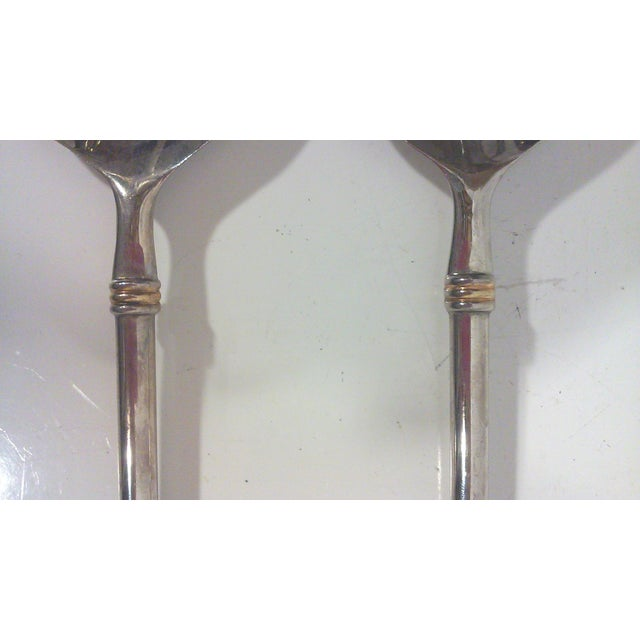 Modernist Silver Plated Serving Utensils - Pair - Image 5 of 6