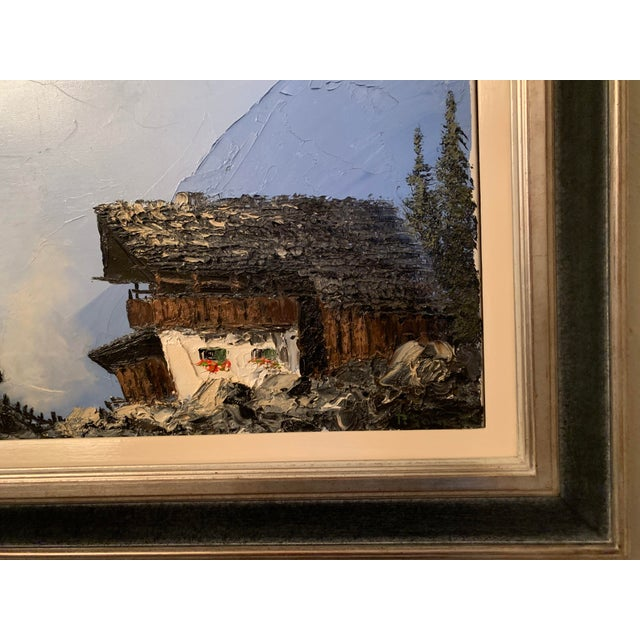 Vintage Swiss Alps and Cabin Large Framed Painting For Sale - Image 10 of 13