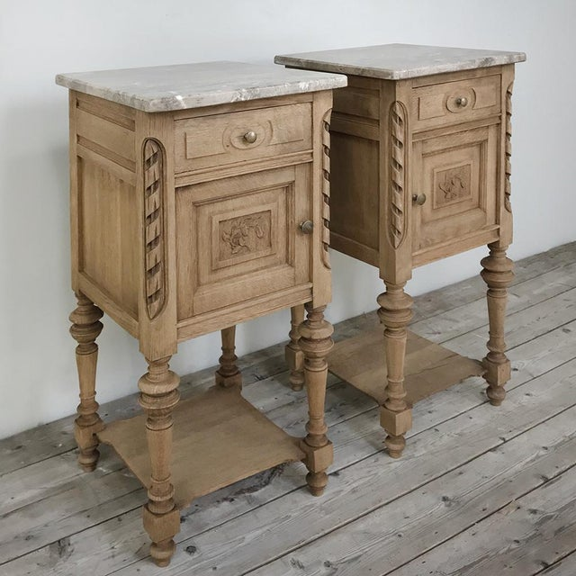 French Pair Antique French Louis XVI Stripped Marble Top Nightstands For Sale - Image 3 of 12