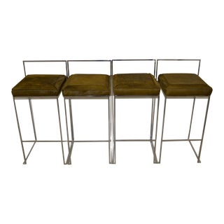 Milo Baughman Chrome Bar Stools w/ Calf Skin Seats - Set of 4