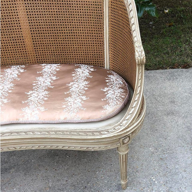 Late 19th Century 19th Century French Louis XVI Painted Canape For Sale - Image 5 of 12