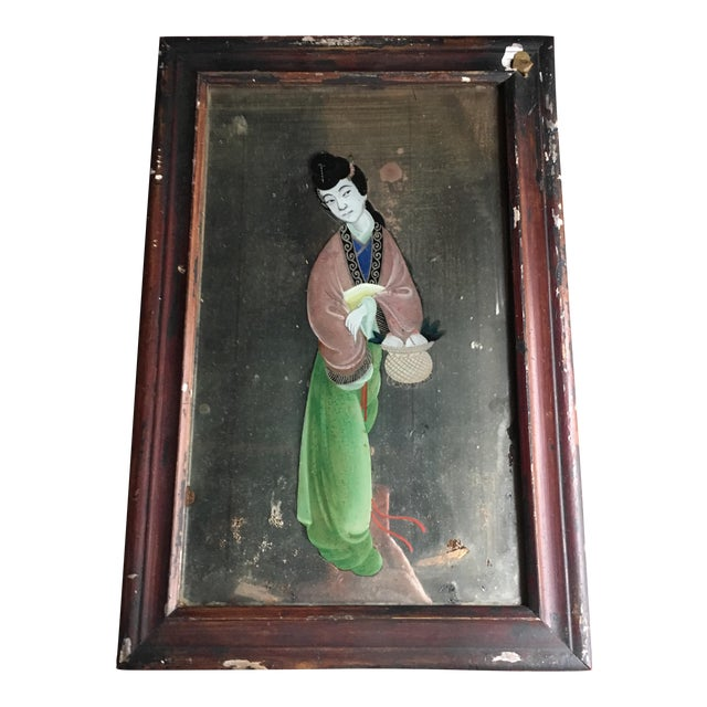 Antique Chinese Reverse Painted Glass Painting Chairish