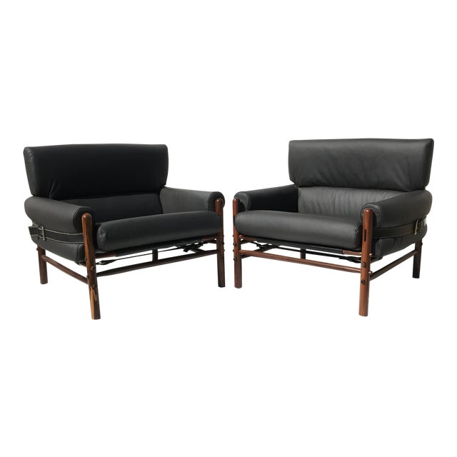 Pair of Arne Norell Kontiki Safari Lounge Chairs For Sale