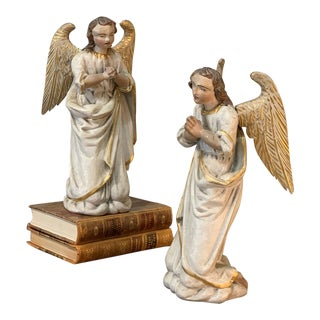 18th Century Italian Hand Carved and Painted Angels - a Pair For Sale