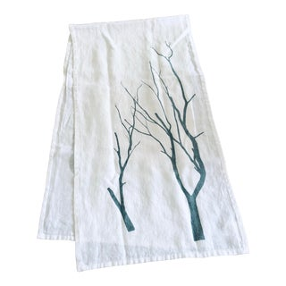 German Linen Table Runner - Blue Branch For Sale