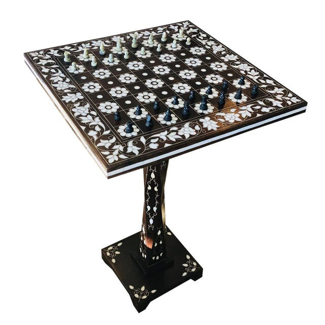 Mother of Pearl Inlay Chess Board Table For Sale