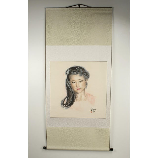 Late 20th Century Chinese Portrait of a Woman on Scroll For Sale - Image 5 of 5