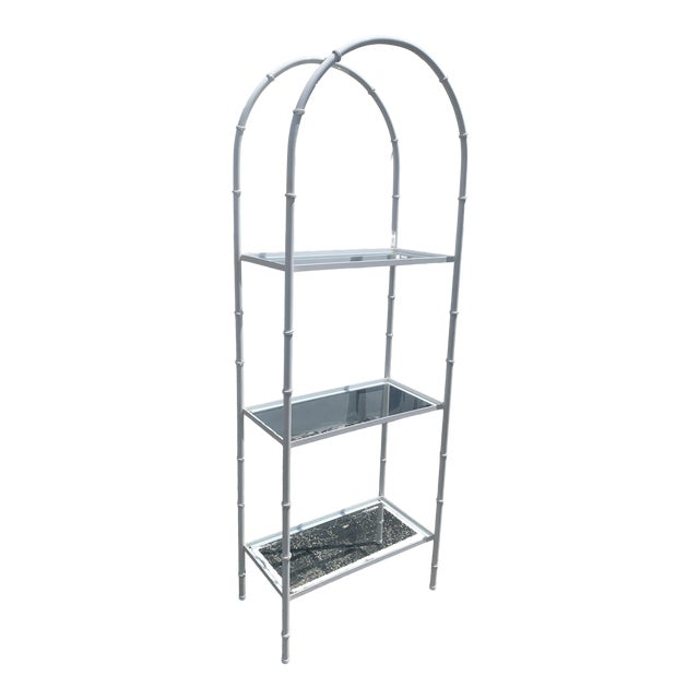 Vintage Chinoiserie Faux Rattan Etagere With Glass Shelves For Sale