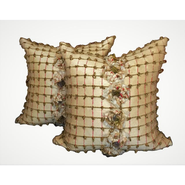 Pale Yellow Silk Pillows - a Pair - Image 2 of 5