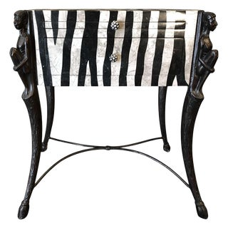 1940s African Zebra Pattern Side Table For Sale