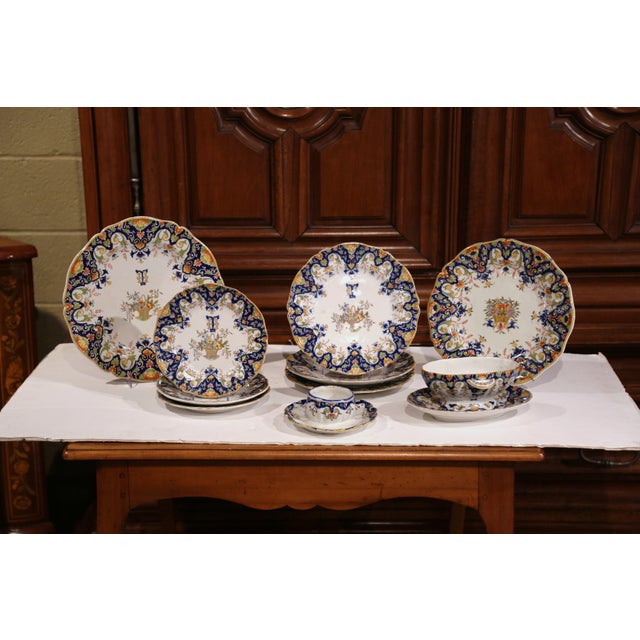 Ceramic 19th Century French Hand-Painted Plates and Dishes From Normandy - Set of 10 For Sale - Image 7 of 10