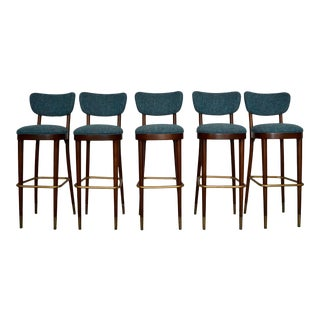 Set of Five Mid-Century Modern Bar Stools by Thonet For Sale
