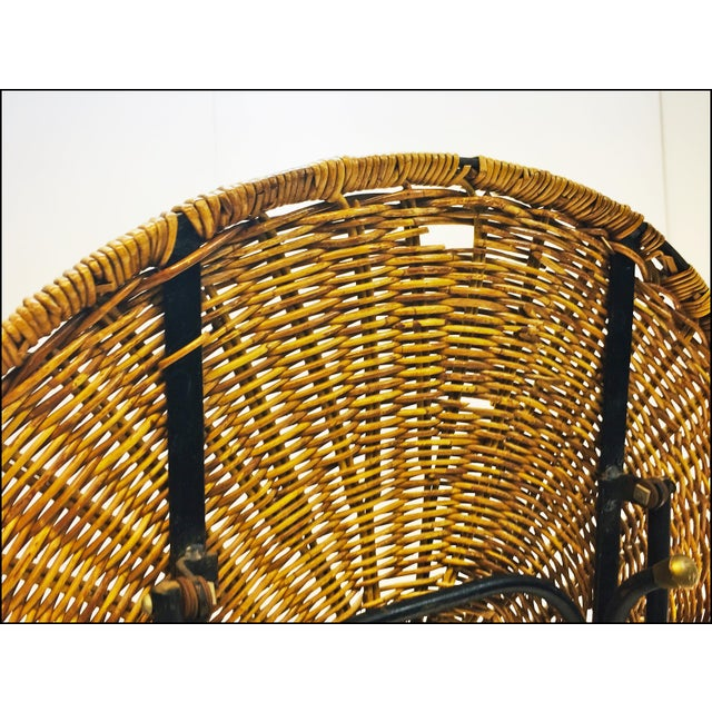 Mid Century Modern Wicker & Iron Round Folding Side Table For Sale - Image 9 of 11