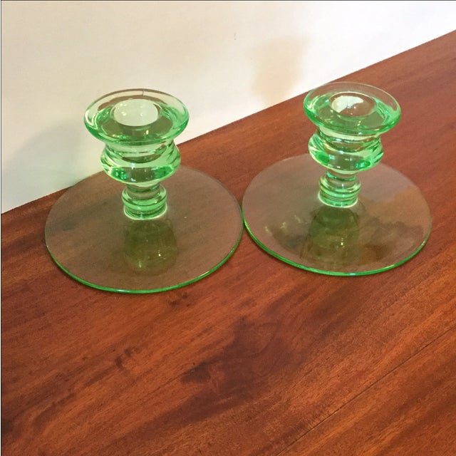 Art Deco Green Uranium Glass Candleholders For Sale - Image 5 of 9