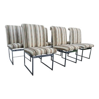 Milo Baughman Mid Century Modern Steel Chrome Dining Chairs - Set of 6 For Sale