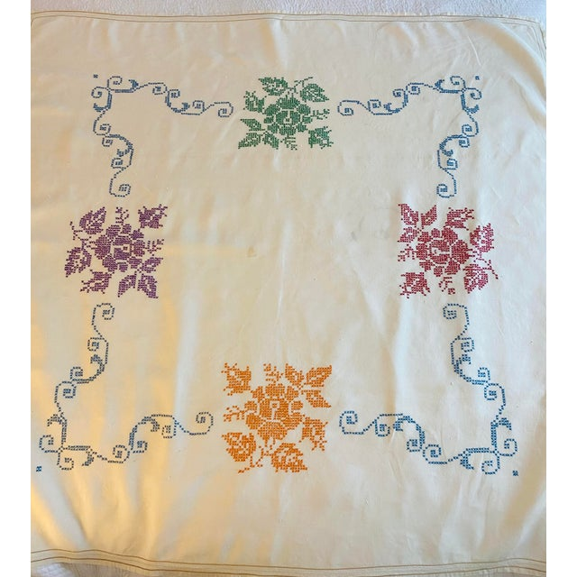 """This is an outstanding 50"""" square linen tablecloth. It was made c. 1930 and is in excellent condition, possibly never..."""