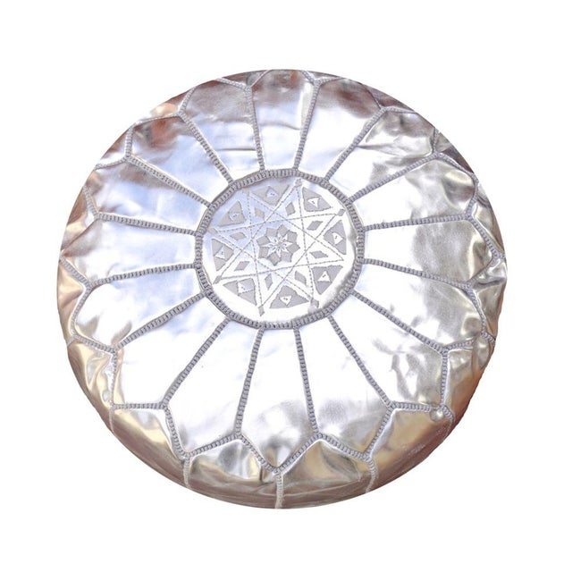 Silver Moroccan Leather Pouf/Ottoman - Image 1 of 8