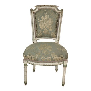 Antique Diminutive Distress Painted French Louis XVI Side Vanity Chair C1870 For Sale