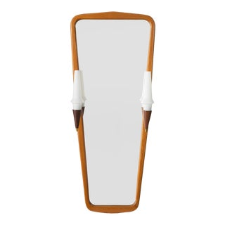 Swedish Modern Hallway Mirror With Built in Sconces For Sale