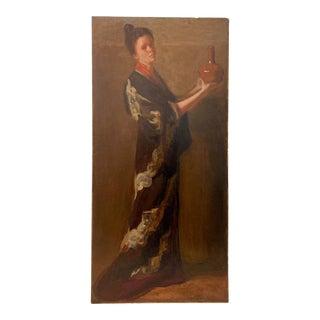 Elizabeth Vila Taylor Portrait Woman in Kimono Holding Red Vase C.1890 For Sale