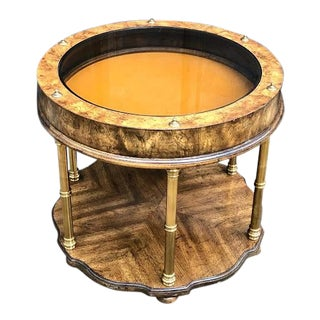 Chinoiserie Burl Wood & Brass Bamboo Glass Display Case Side Table by Gordon's of Tennessee For Sale