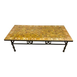 Vintage Moroccan Mosaic Brown Tile Rectangular Coffee Table For Sale