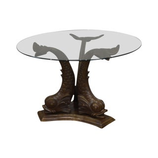 Italian Bronze Tri - Dolphin Base Round Glass Top Dining or Center Table For Sale