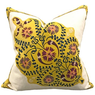 Early 20th Century Uzbek Suzani Pillow For Sale