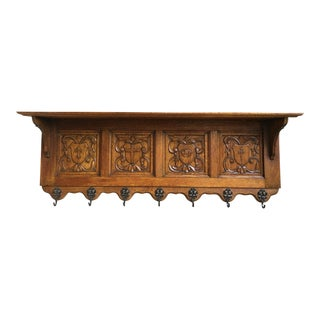 Antique French Country Carved Oak Wall Shelf Coat Hat Plate Rack Gothic Brass For Sale