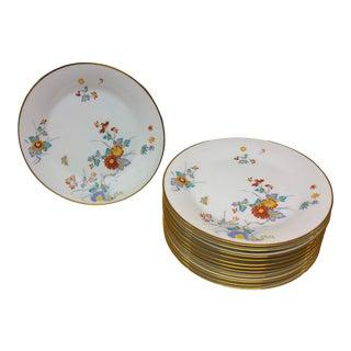 1960s Noritake Ming Oriental Chrysanthemum Pattern Dinner Plates - Set of 12 For Sale