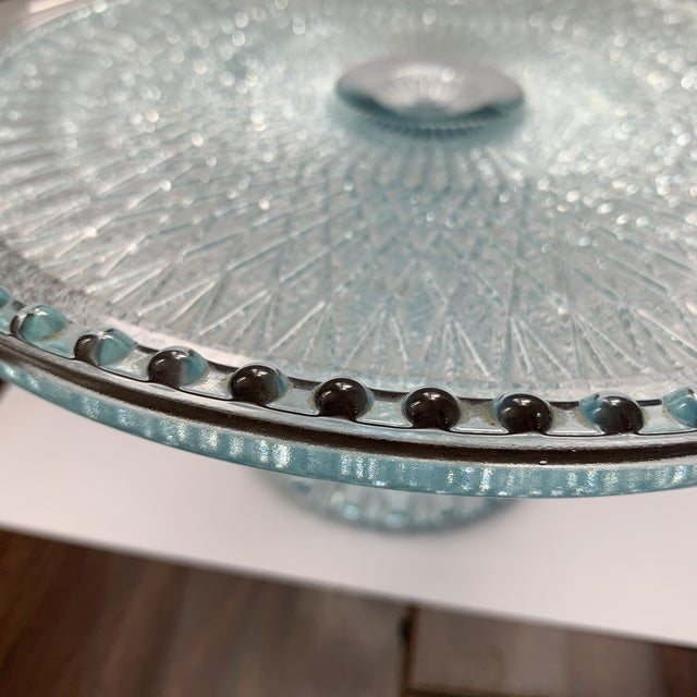 Traditional 1950s Jeannette Blue Ice Glass Cake Plate Stand For Sale - Image 3 of 5