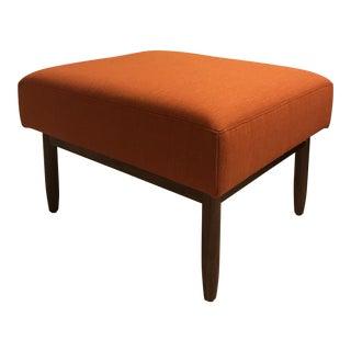 Orange Ducale Wool Mid-Century Modern Style Ottoman For Sale