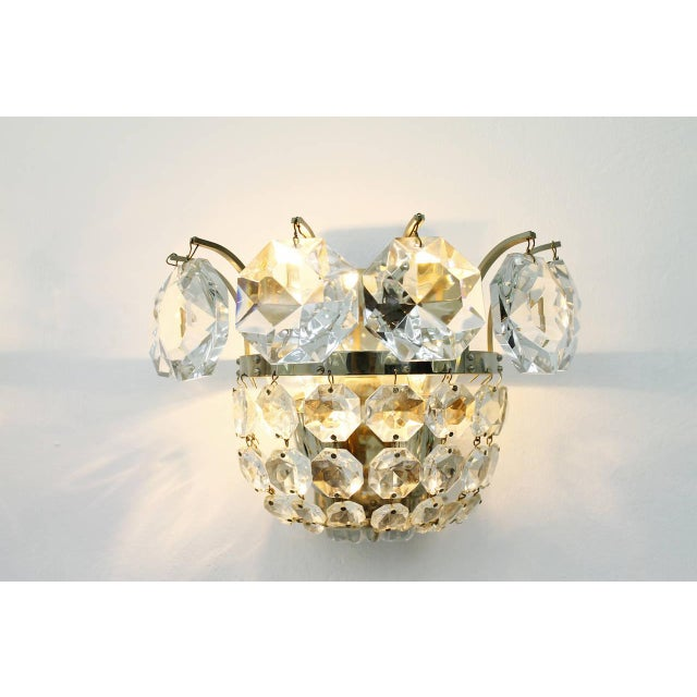 One of Four Wall Sconces by Bakalowits Crystal and Nickel, Austria, Circa 1960s For Sale - Image 6 of 8