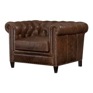 Century Furniture Sorenson Chair, Coffee Leather For Sale