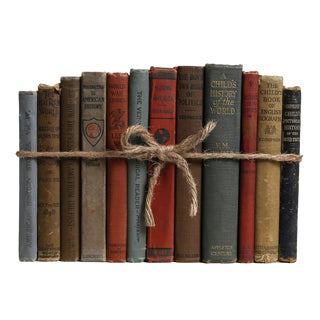 Antique Children's History Book Stack, For Sale