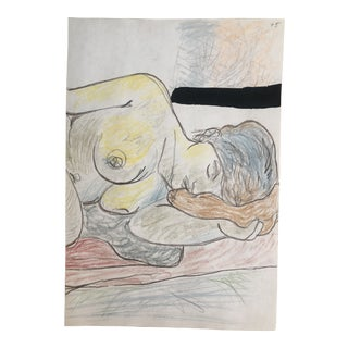 1990s James Bone Resting Female Nude Mixed Media Figure Drawing For Sale