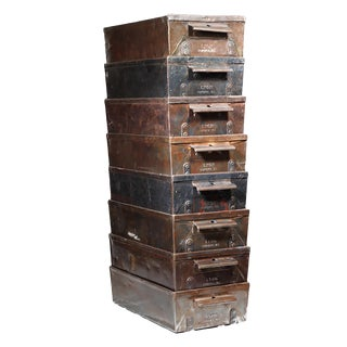 Antique Industrial Factory Lyon Steel Drawers C.1930 For Sale