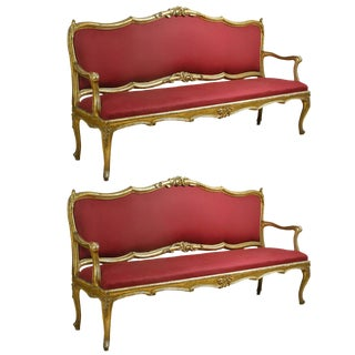 Louis XV Red Upholstered Giltwood Settees - a Pair For Sale