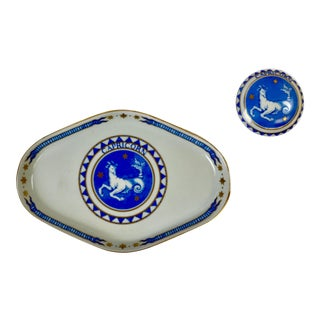 Late 20th Century Vintage Zodiac Mottahedeh Caicorn Trinket Tray & Pillbox - a Pair For Sale