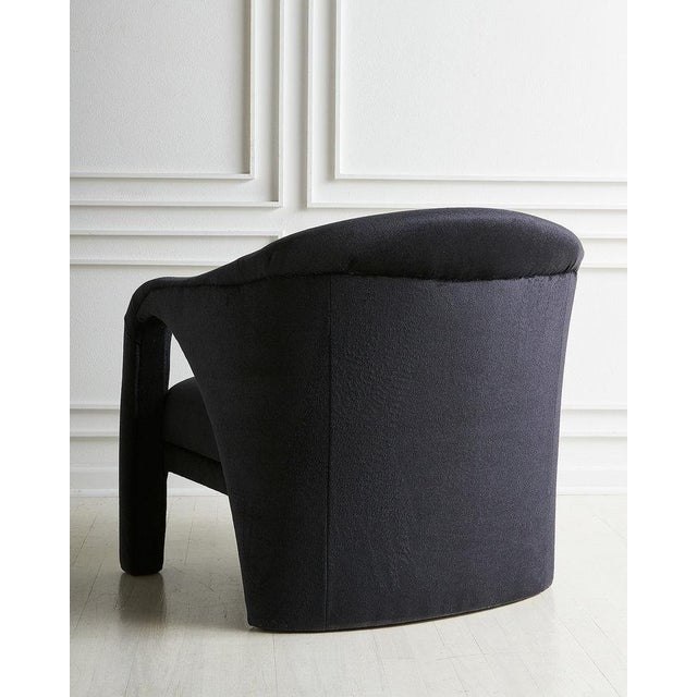Vladimir Kagan Style Lounge Chair in Black Mohair For Sale In Chicago - Image 6 of 7