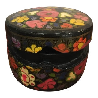 Round Papier Mache Trinket Box. Hand Painted Floral Design For Sale