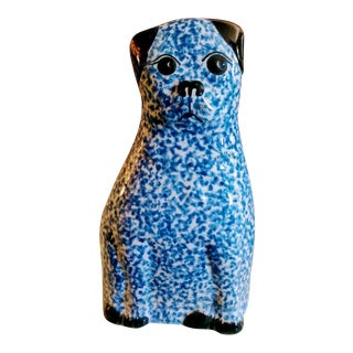 Chinoiserie Blue and White Printed Staffordshire Cat For Sale