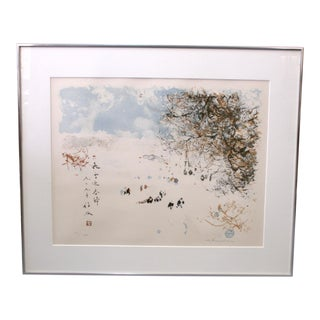 """""""Winter in the Park"""" 1979 Framed Limited Edition Lithograph Print by Chen Chi"""