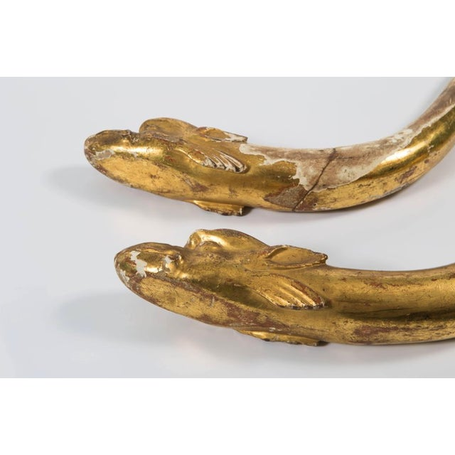 18th Century Gold Leaf Dolphin Shaped Ornaments - a Pair For Sale - Image 9 of 11