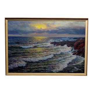 1920s Oil Painting, Seascape Magic Sunset by Vartan Mahokian For Sale
