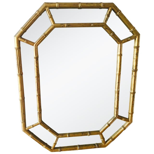 Vintage Gold Faux Bamboo Mirror - Image 2 of 4