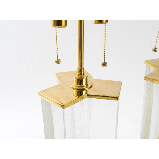 Cast Textured Glass Column Table Lamps For Sale - Image 4 of 8