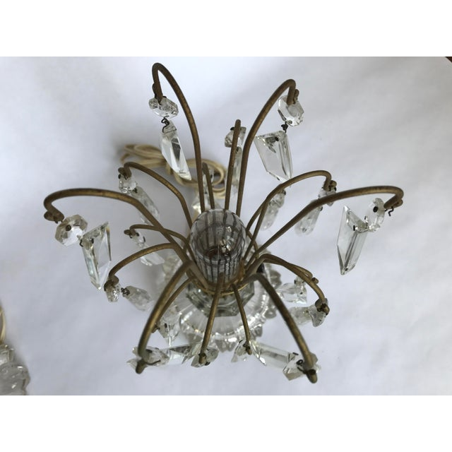 Vintage Art Deco Crystal Chandelier Lamps - A Pair - Image 5 of 10