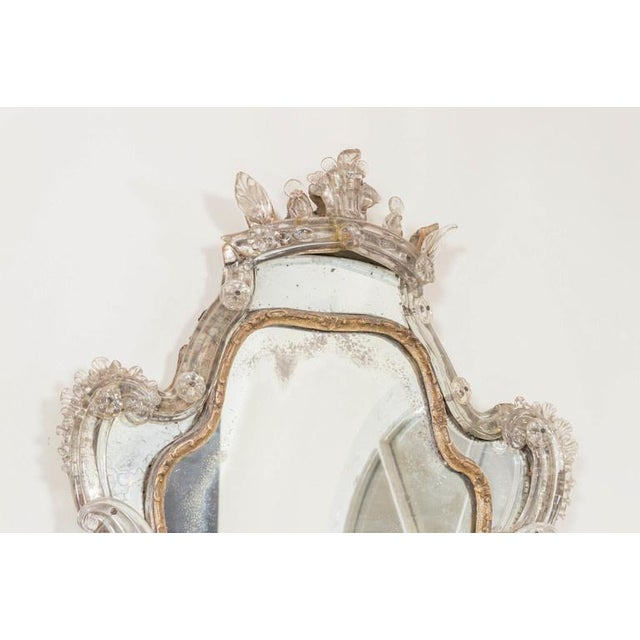 Late 18th Century 18th Century Venetian Glass Mirror With Blown Glass Sconce For Sale - Image 5 of 7
